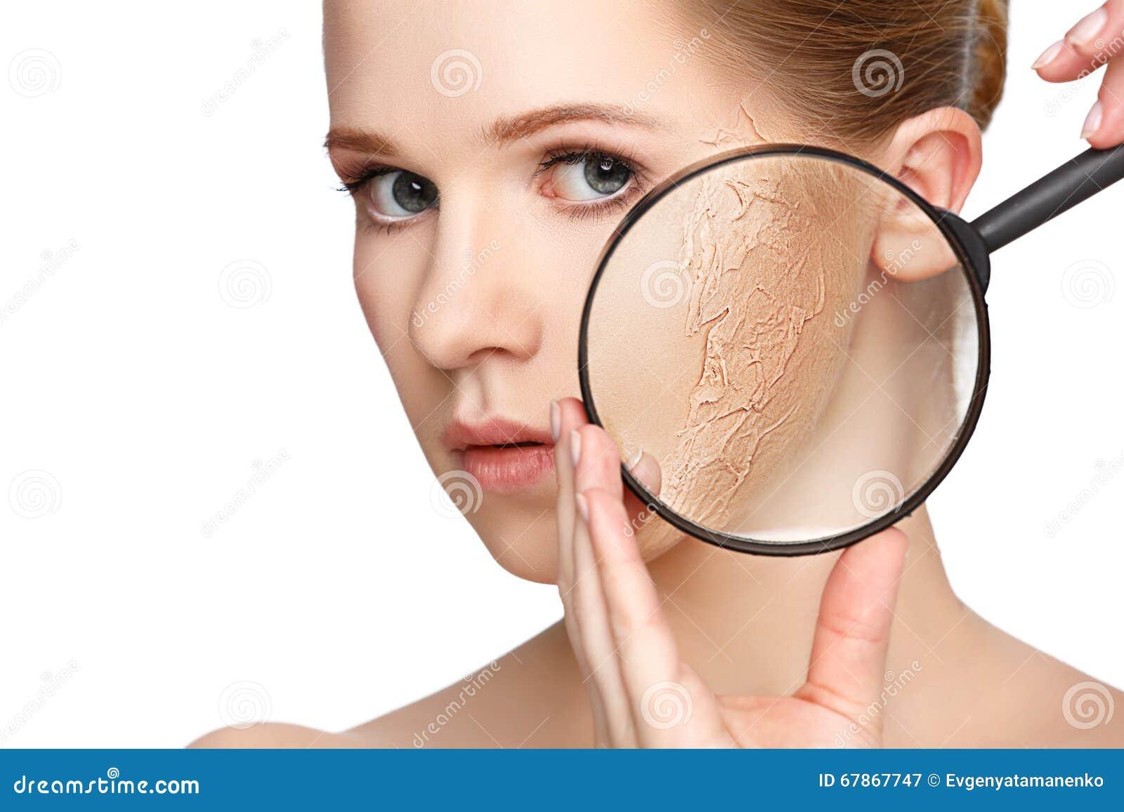 Begrepp av föryngring och hudomsorg härlig framsidaflicka