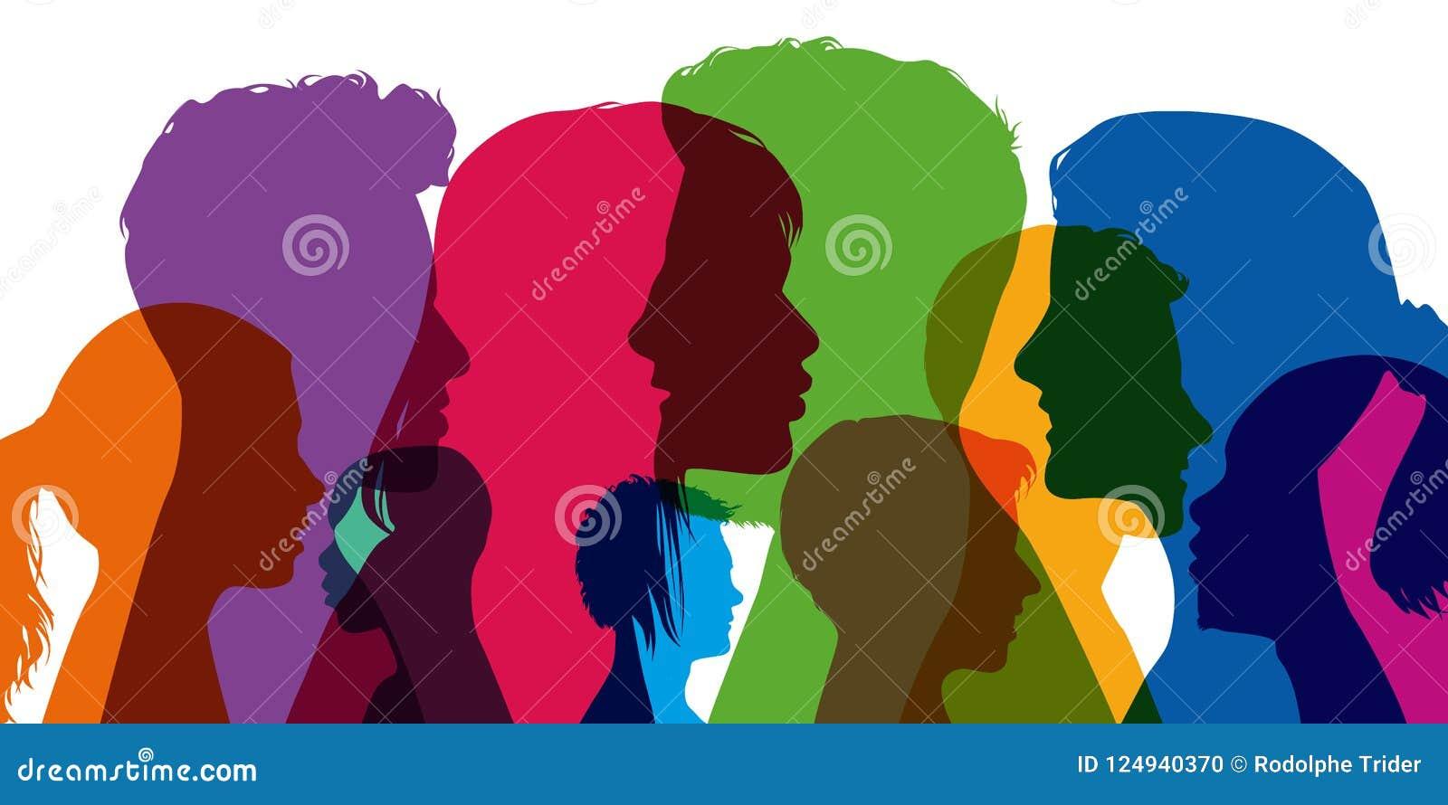 Begrepp av mångfald, med konturer i färger; uppvisning av olika profiler av unga män och kvinnor