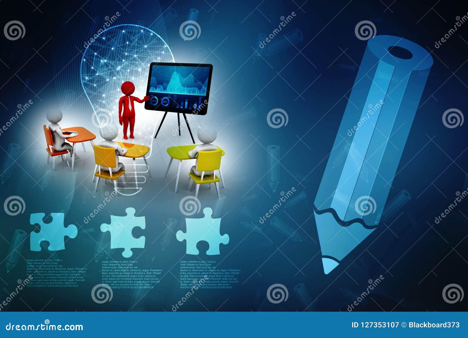 Begrepp av mötet, utbildning och att lära, presentation Isolerad vit bakgrund, 3d framför
