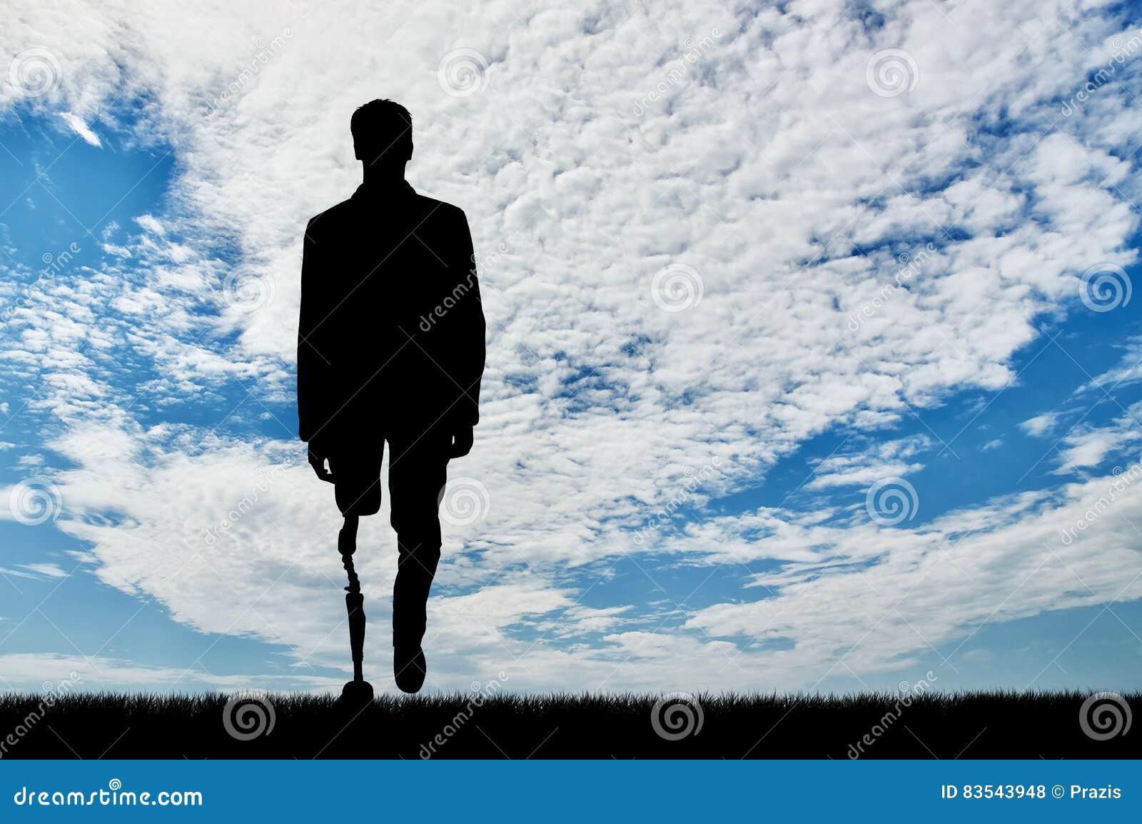 Begrepp av rehabilitering av invalids med prosthetic ben