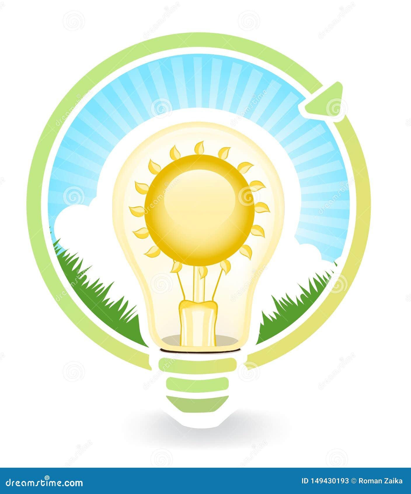 Begrepp av sparande av gr?n energi f?r ljusa kulor , illustrationer