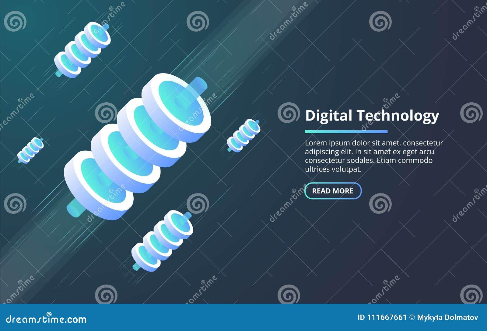 Begrepp av stora data - bearbeta, energistation av framtid, serverrumkugge, isometrisk illustration för datorhall