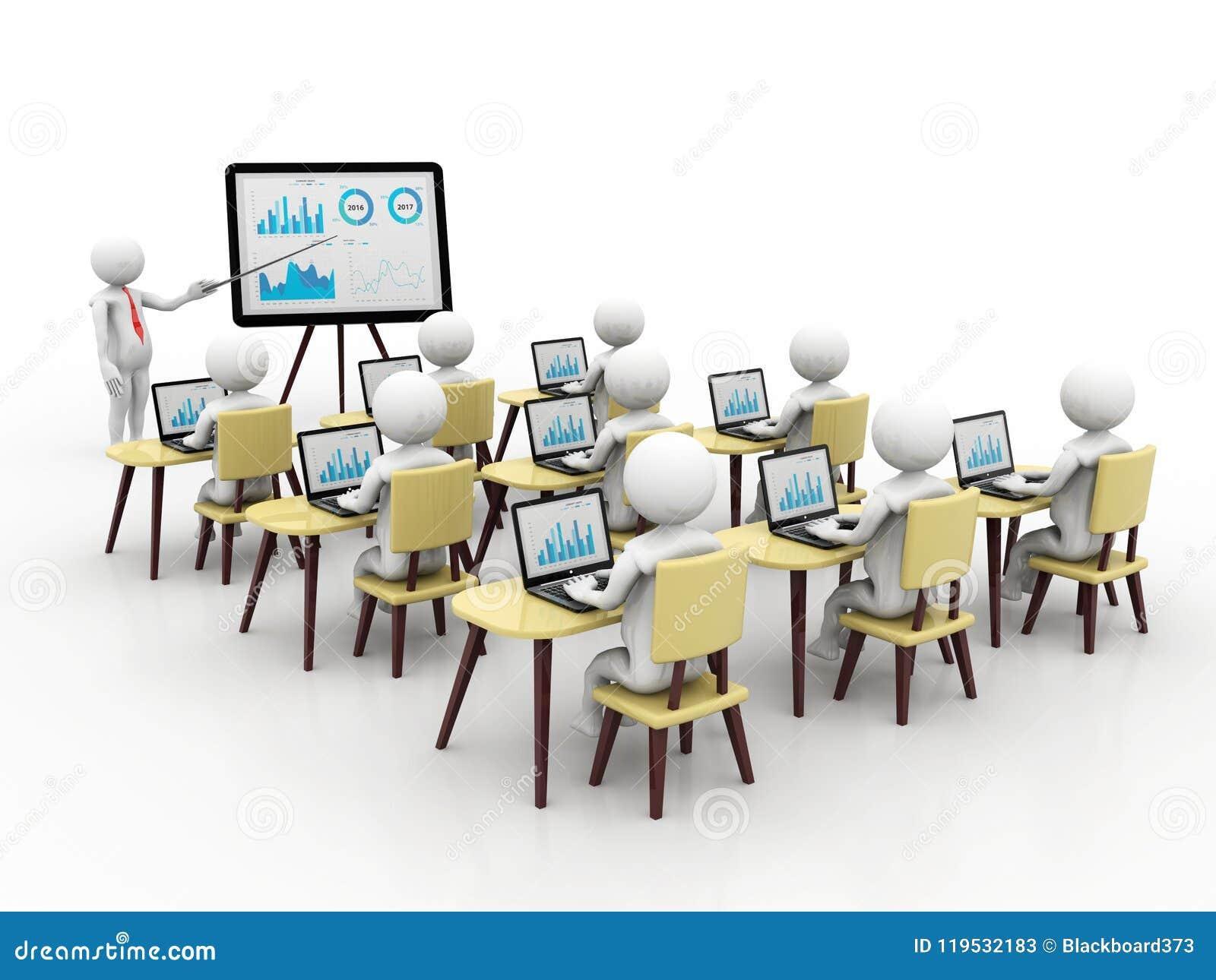 Begrepp av utbildning och att lära, presentation Isolerad vit bakgrund, 3d framför