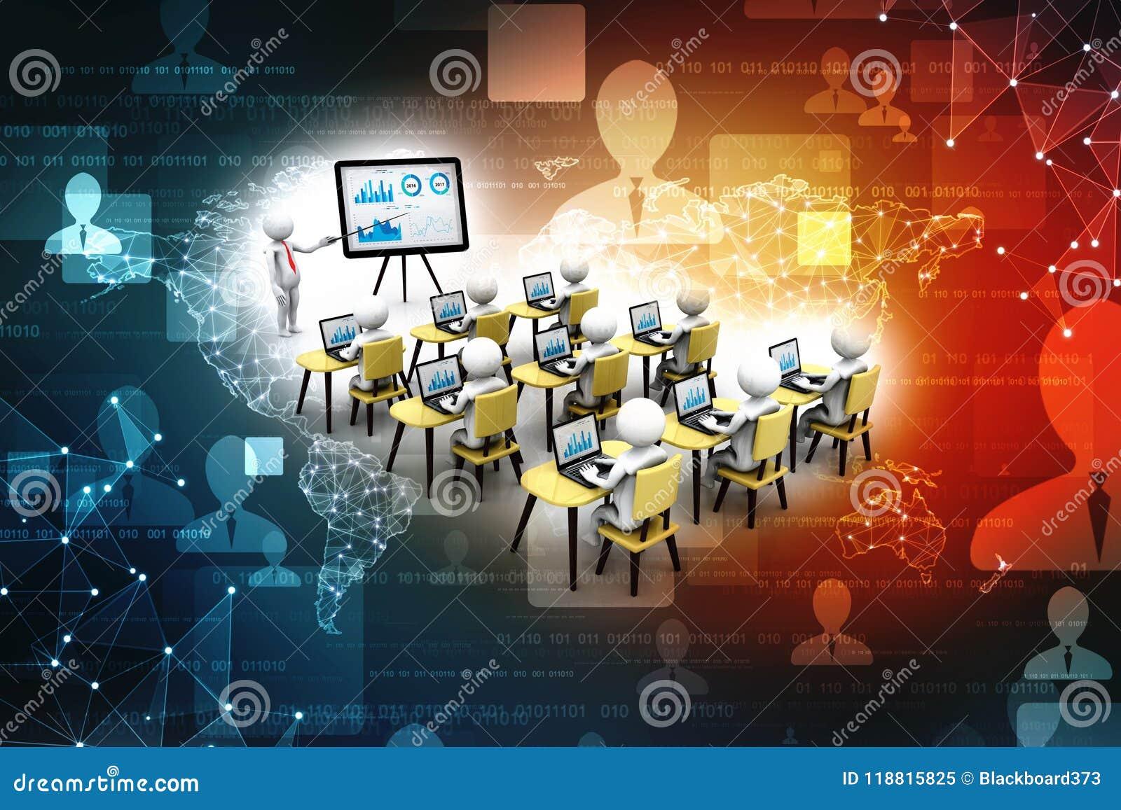 Begrepp av utbildning och att lära, presentation samtal för möte för bärbar dator för skrivbord för affärsaffärsmancmputer le til