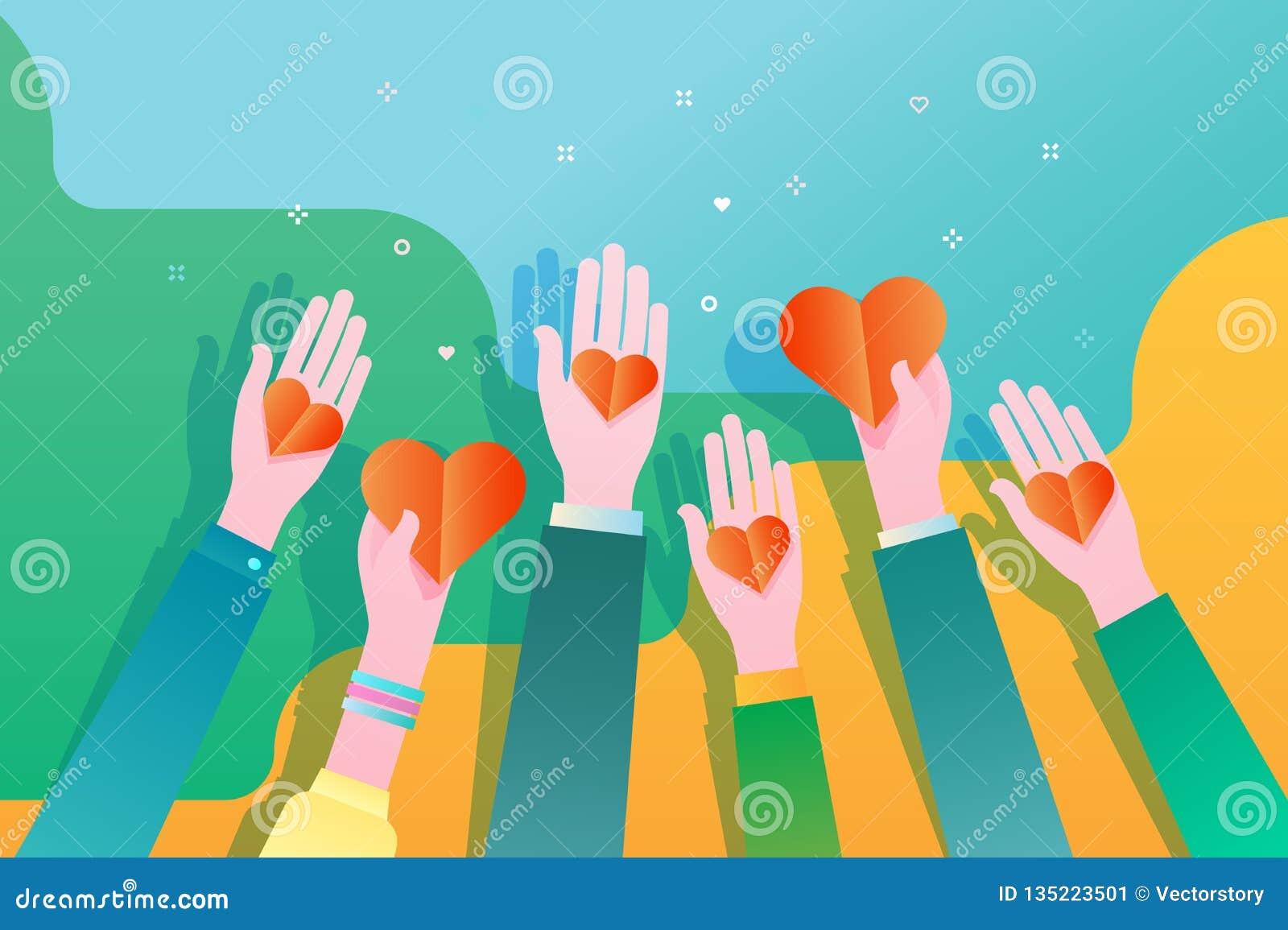Begrepp av välgörenhet och donation Ge och dela din förälskelse till folk hands hjärtaholdingsymbol