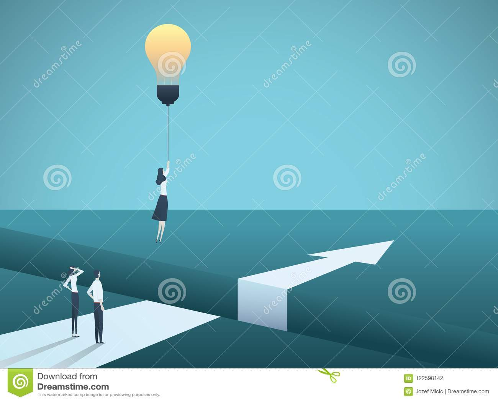 Begrepp för affärskreativitetvektor med kvinnaflyg med lightbulben Symbol av den idérika lösningen, genombrott