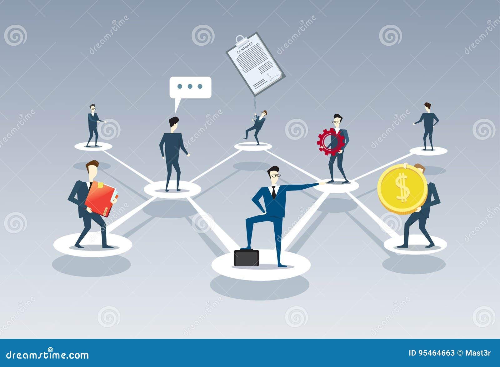 Begrepp för anslutning för teamwork för folk för grupp för affärsTeam Company Management Organisation Chart Businesspeople
