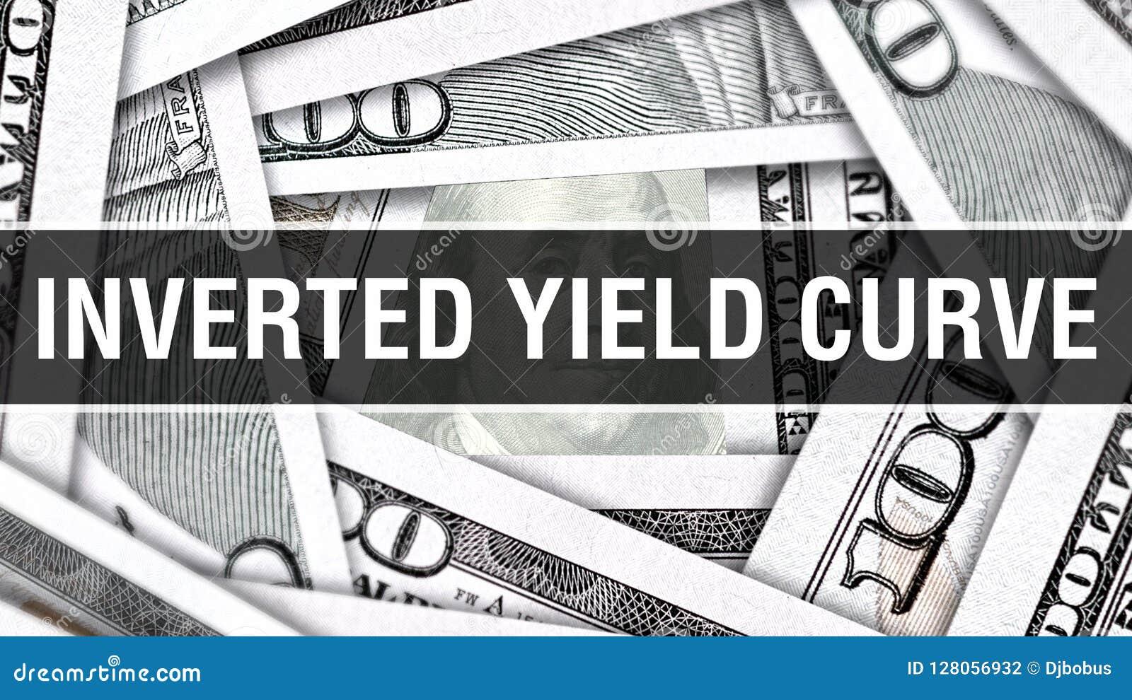 Begrepp för Closeup för kurva för inverterad avkastning Amerikanska dollar kontanta pengar, tolkning 3D Kurva för inverterad avka