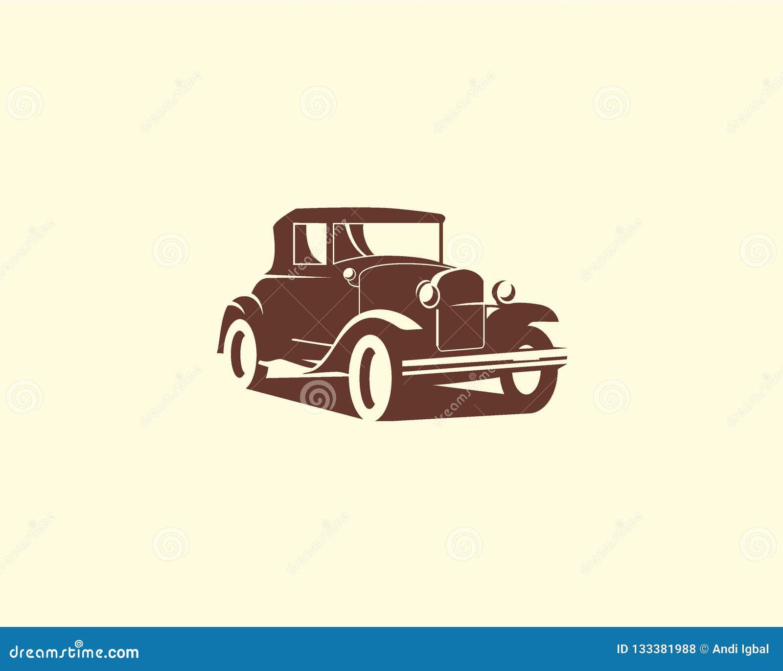 Begrepp för design för konturbilvektor, gammal bil, klassisk billogomall