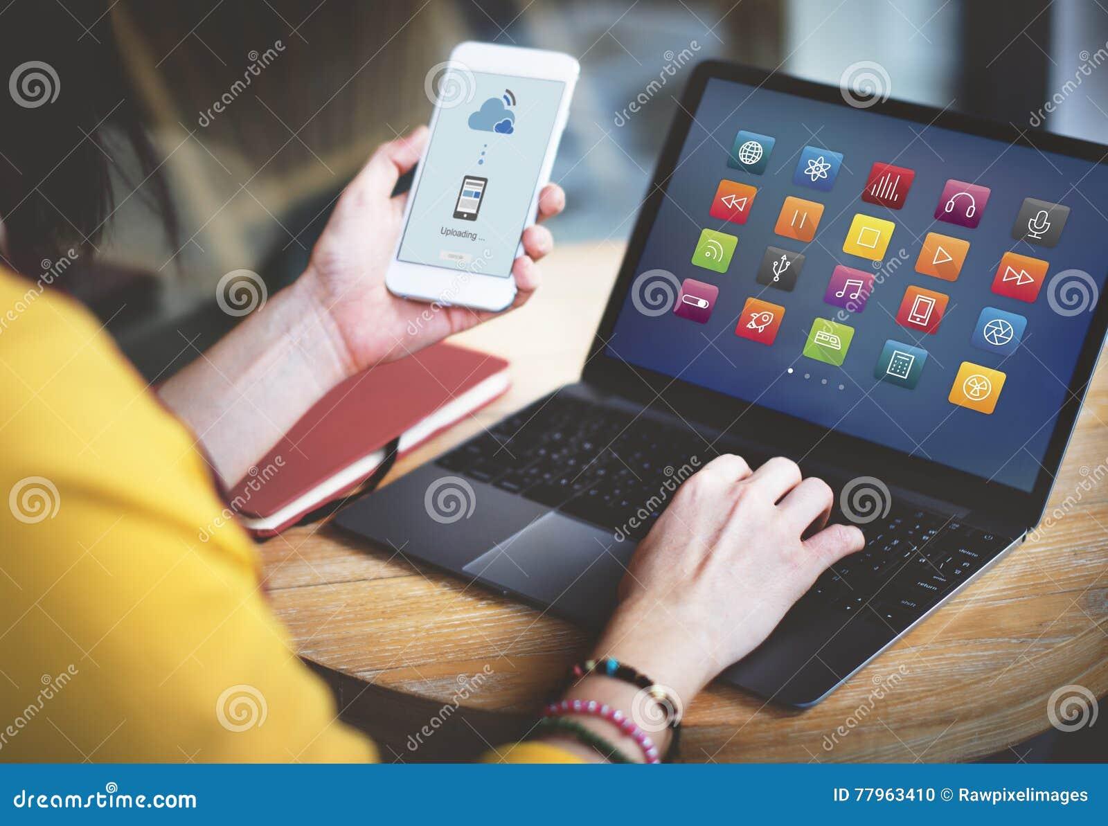 Begrepp för Digitalt innehåll för multimediaanslutning futuristiskt