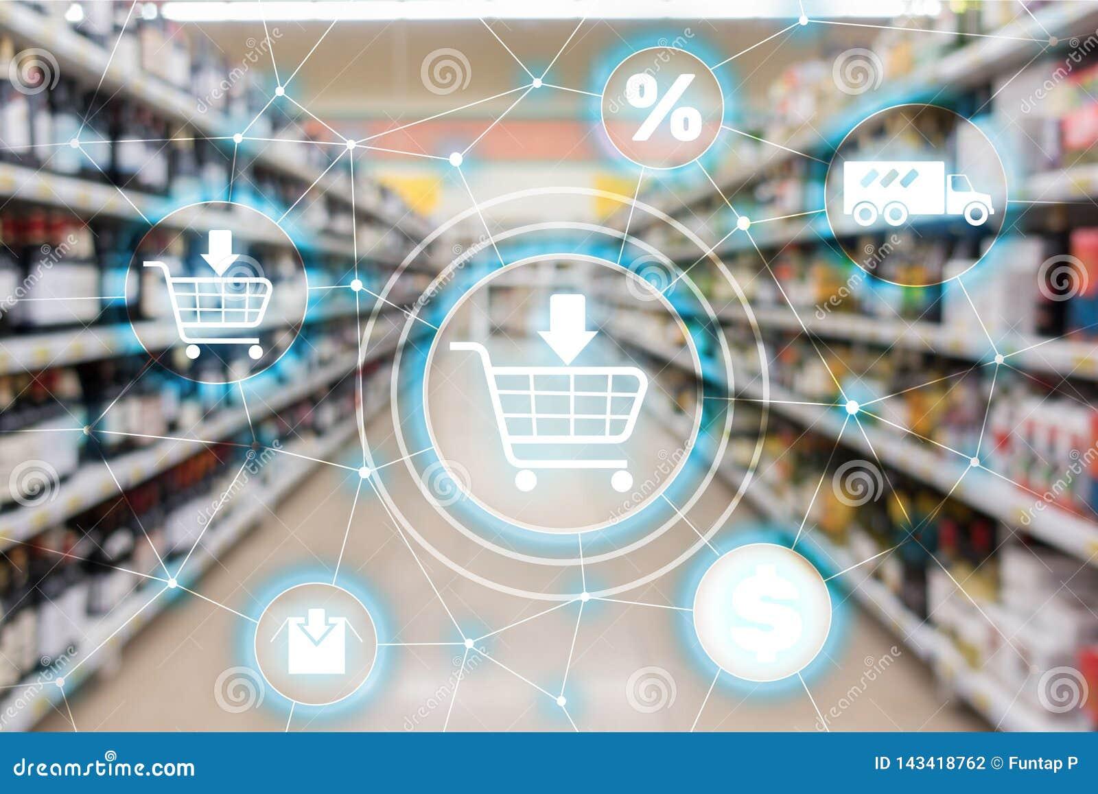 Begrepp för fördelning för kanal för marknadsföring för Ecommerce för shoppingvagn på supermarketbakgrund