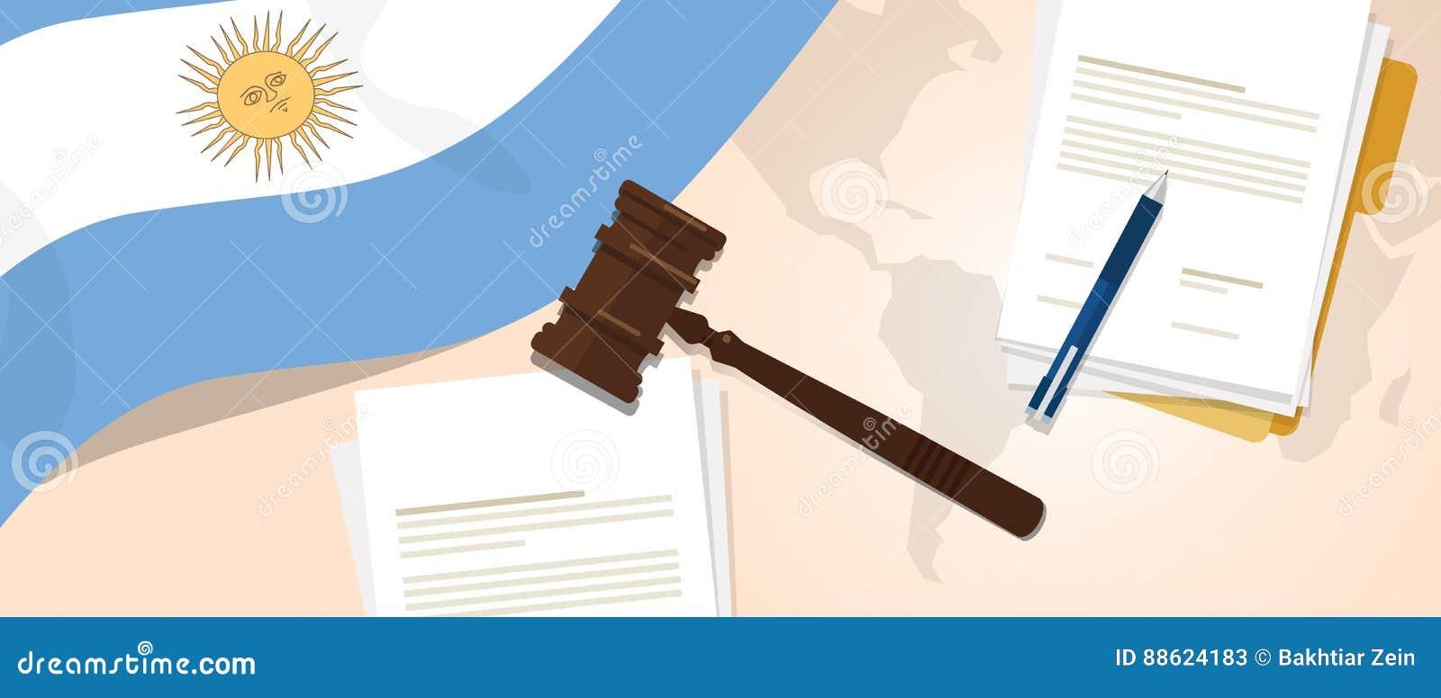 Begrepp för försök för lagstiftning för rättvisa för dom för Argentina lagkonstitution lagligt genom att använda den flaggaauktio