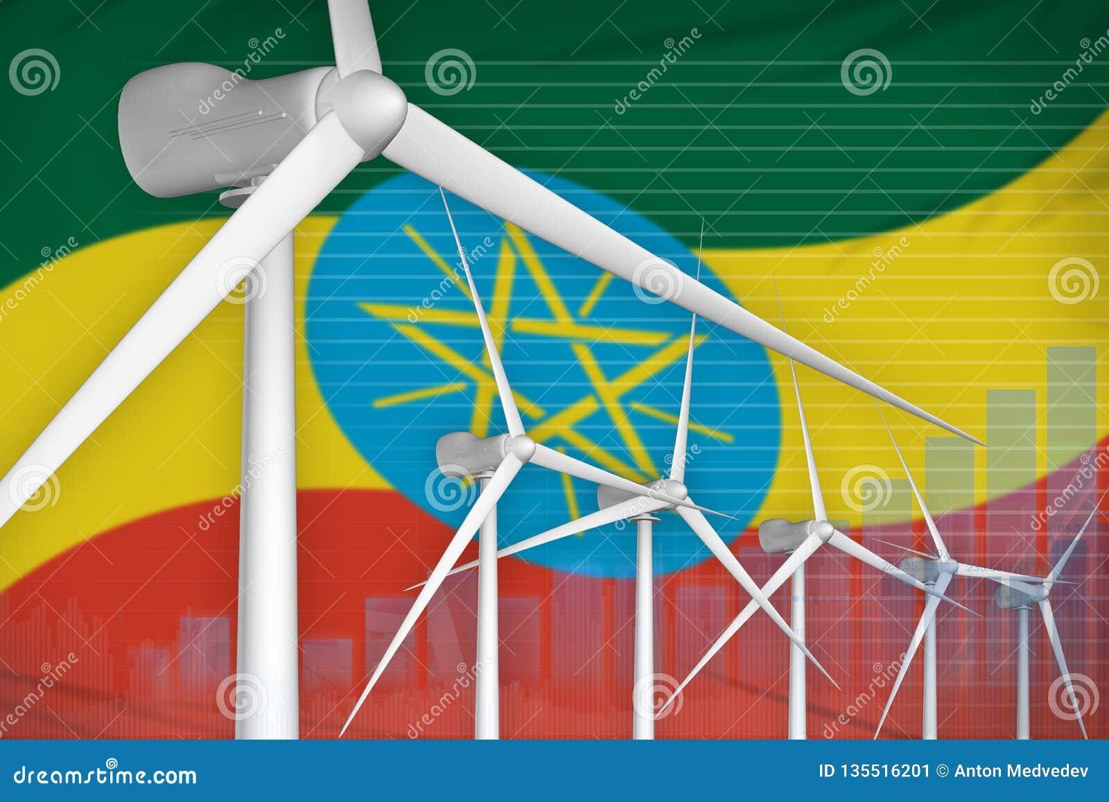 Begrepp för graf för makt för Etiopien vindenergi digitalt - förnybar industriell illustration för naturlig energi illustration 3