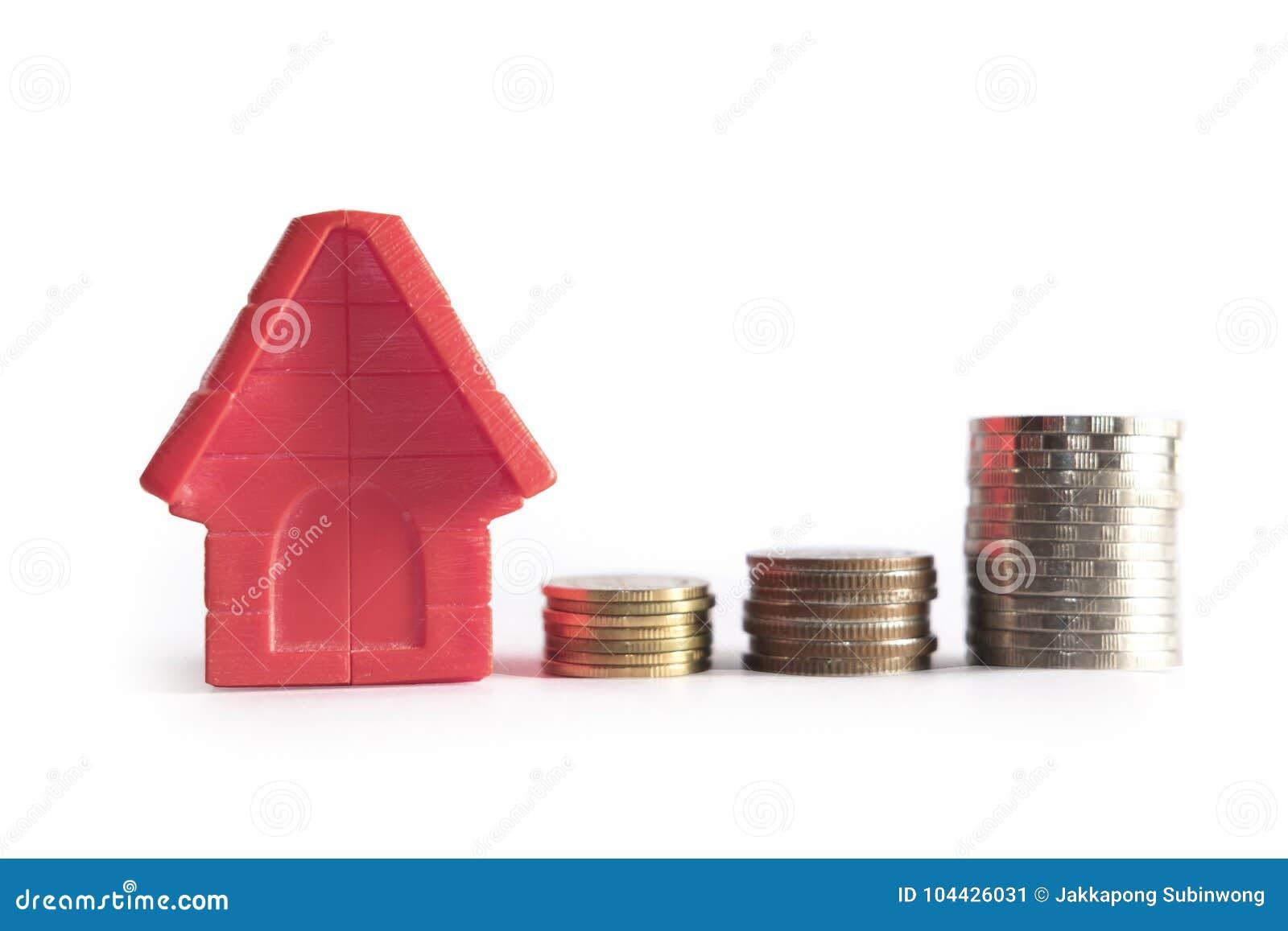 Begrepp för hem för familj för affärsannonsering och växande högmyntpengar för hem- finans- och packa ihopbegrepp