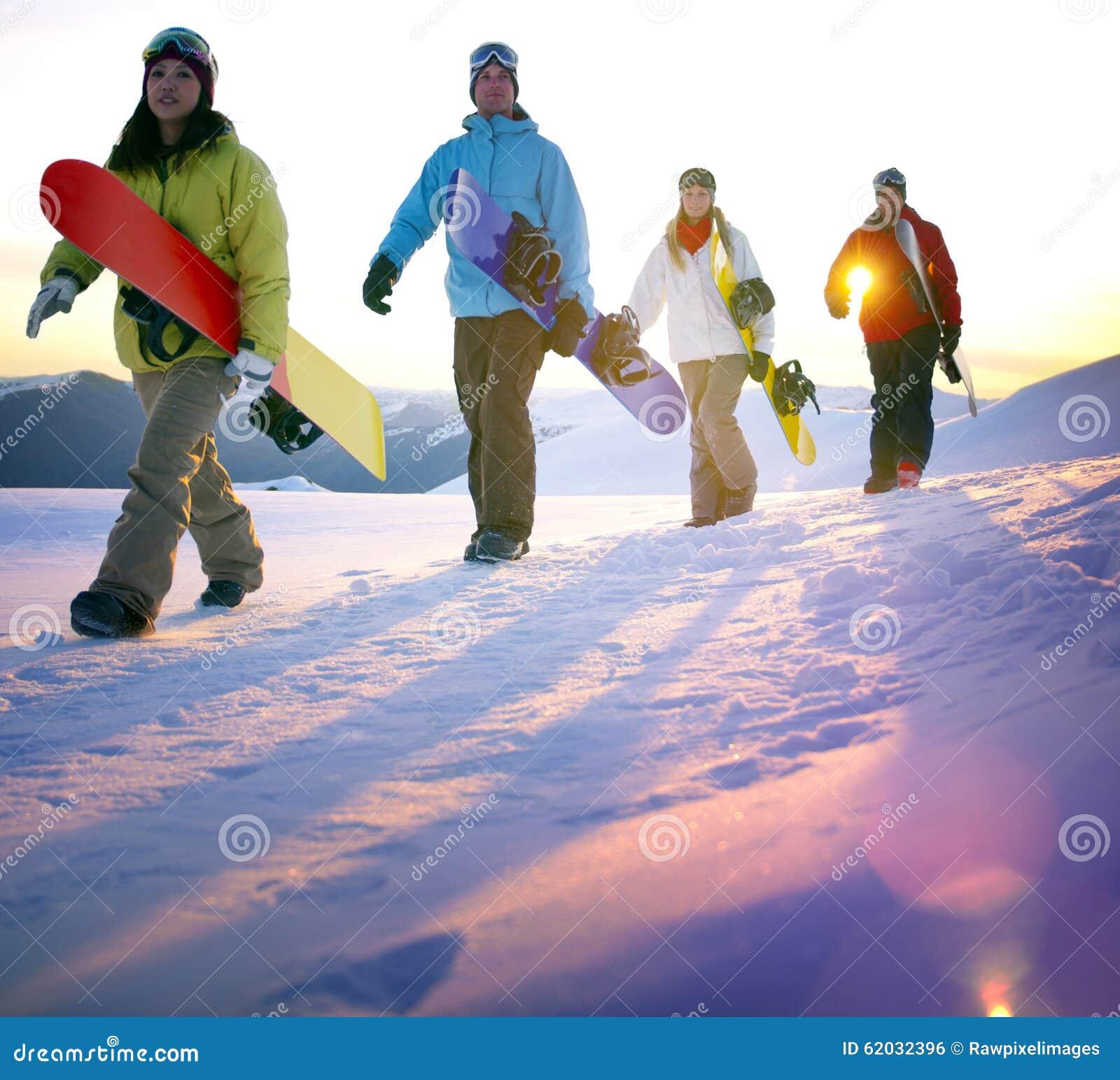 Begrepp för hobby för Snowboardingfolkrekreation utomhus
