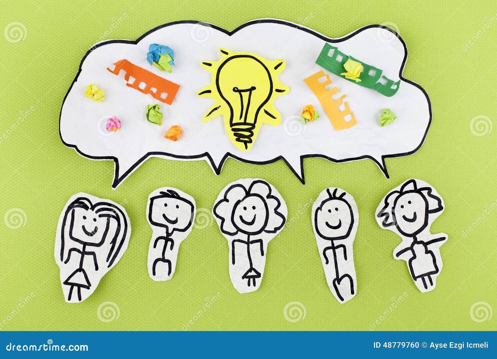 Begrepp för idéer för teamworkkreativitetsynergi
