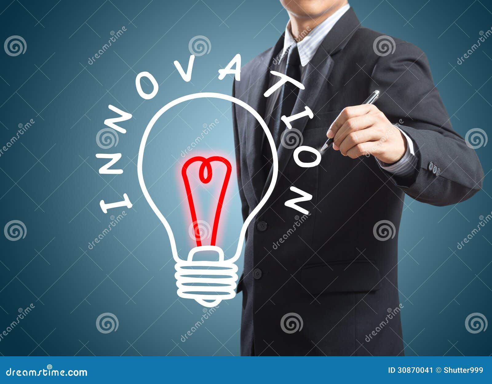 Begrepp för innovation för handstil för affärsman
