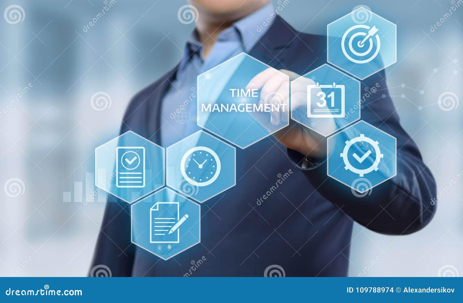 Begrepp för internet för teknologi för affär för mål för strategi för effektivitet för projekt för Tid ledning