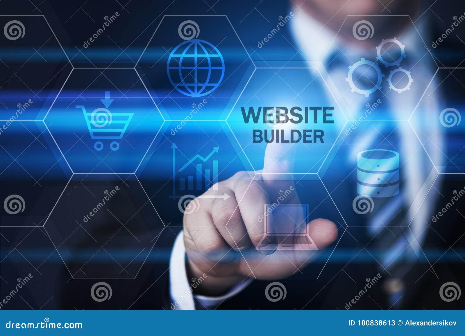 Begrepp för internet för teknologi för WebsitebyggmästareWeb Design Development affär
