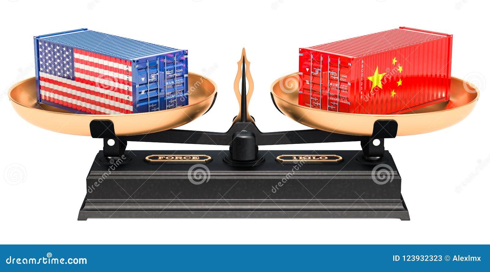 Begrepp för Kina och USA handeljämvikt, tolkning 3D