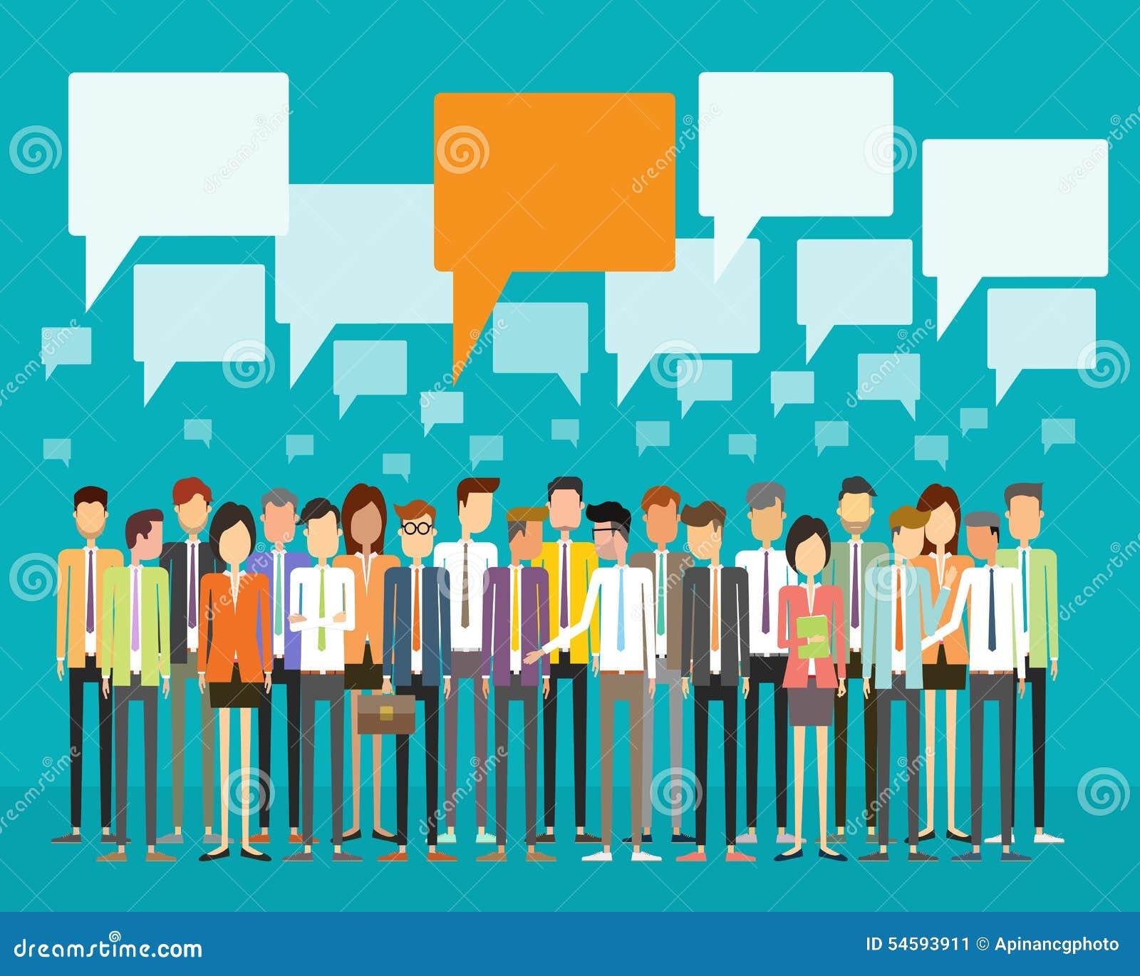 Begrepp för kommunikation för gruppfolkaffär