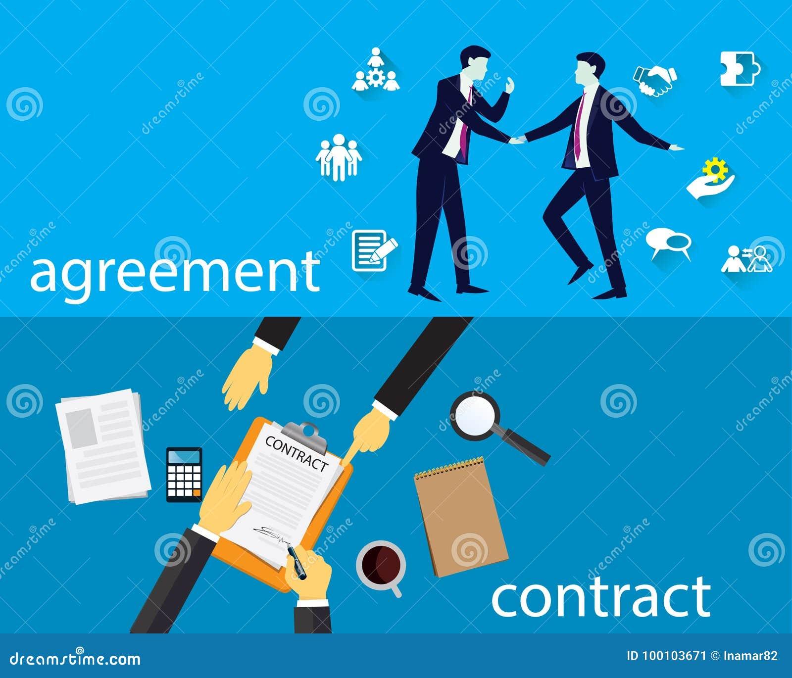 Begrepp för laglig överenskommelse för kontraktskrivning också vektor för coreldrawillustration
