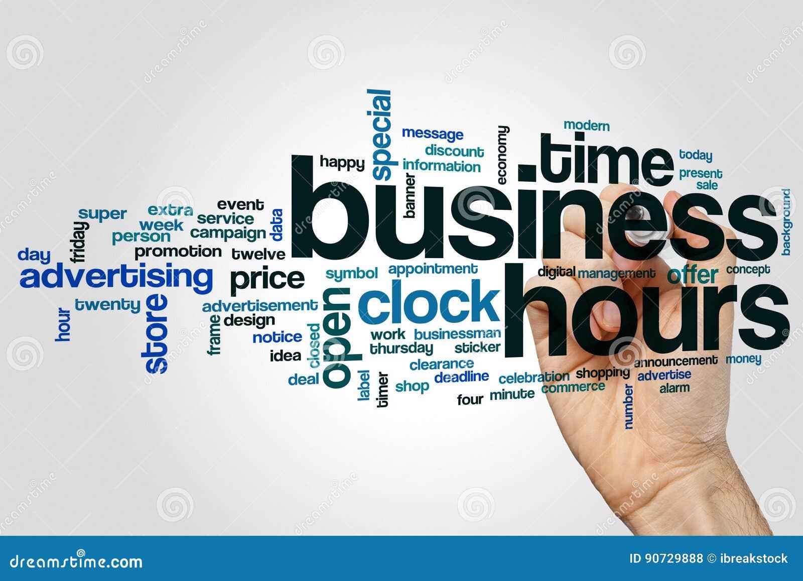 Begrepp för moln för ord för affärstimmar på grå bakgrund