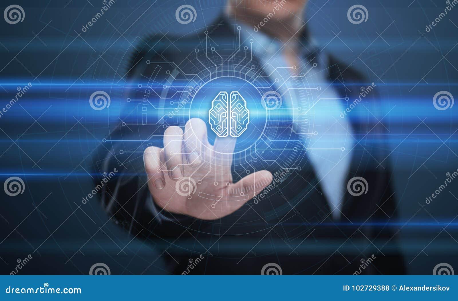 Begrepp för nätverk för internet för teknologi för affär för lära för maskin för Digital Brain Artificial intelligensAI