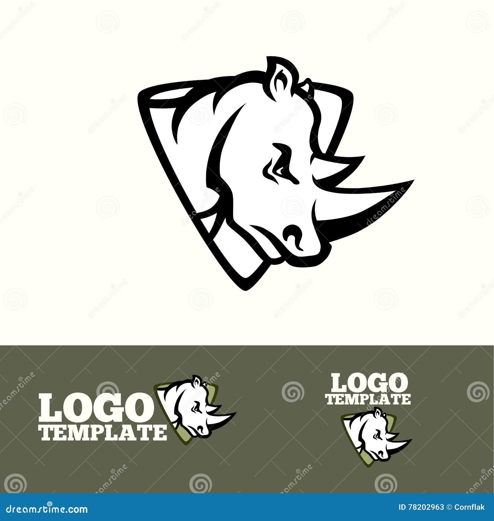 Begrepp för noshörninglogovektor för sportlag, märken etc.