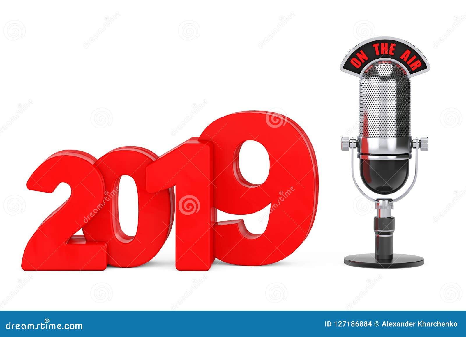 Begrepp för nytt år 2019 Rött tecken för nytt år 2019 med den mikrofonen