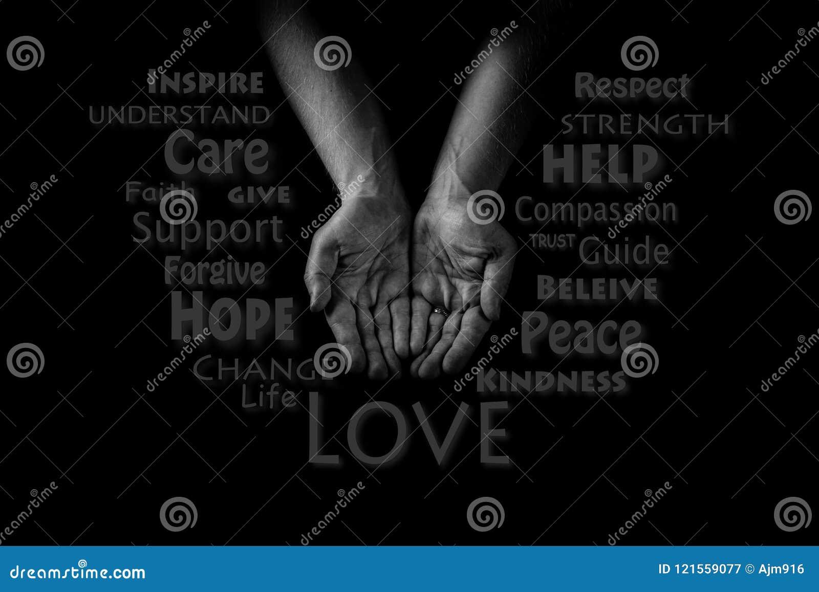 Begrepp för portionhand Händer för man` s gömma i handflatan upp och att ge omsorgförälskelse och service Ord CLOUD