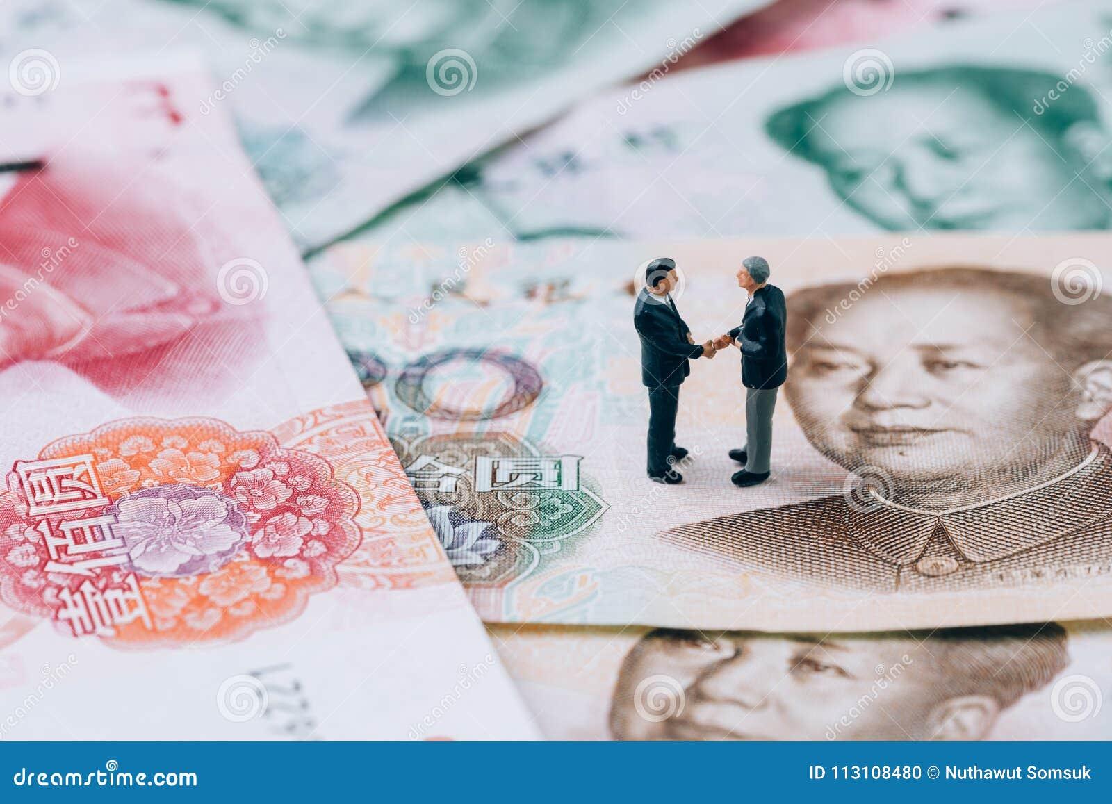 Begrepp för samtal för förhandling för krig för handel för Kina finanstariff, miniatu
