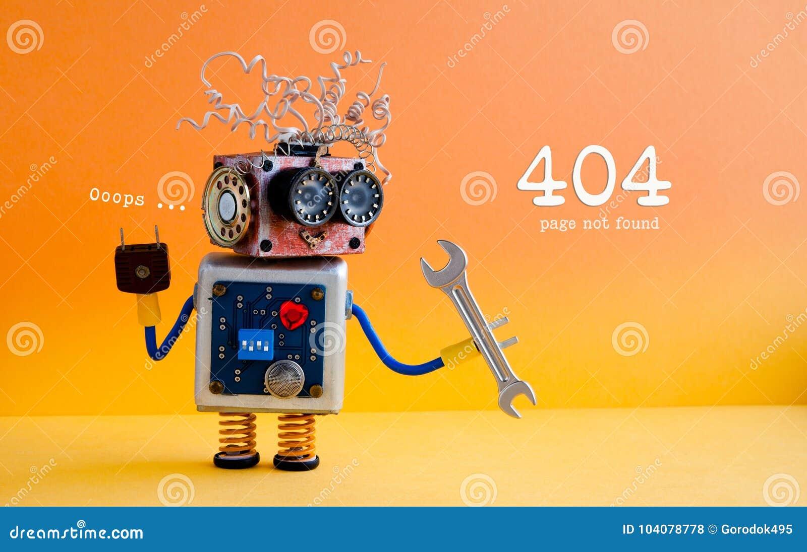 Begrepp för sida för fel 404 funnit inte Vänlig galen robotfaktotum med handskiftnyckeln på gul orange bakgrund