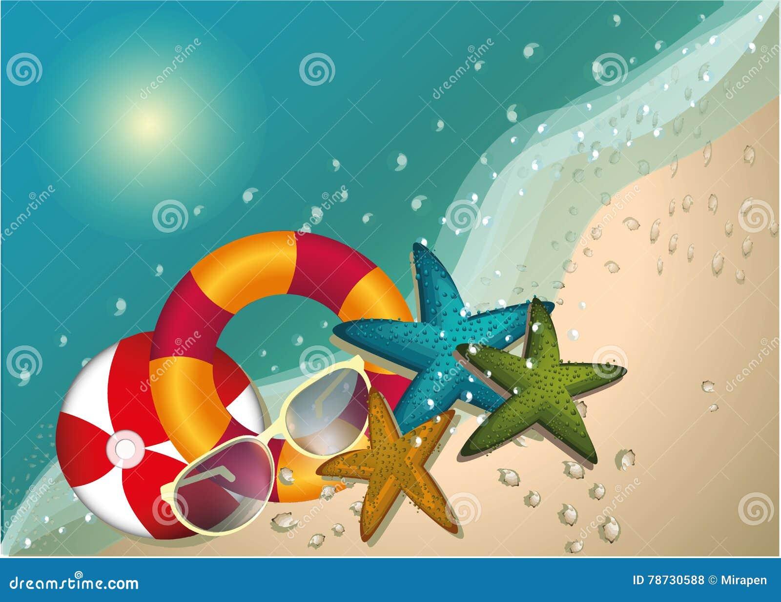 Begrepp för sommarstrandvektor, bakgrund, illustration