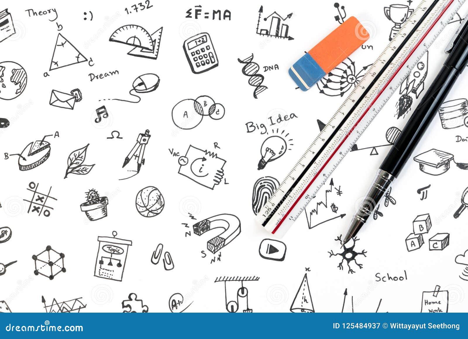 Begrepp för STAMutbildningsbakgrund STAM - vetenskaps-, teknologi-, teknik- och matematikbakgrund med pennan, linjalen och klotte