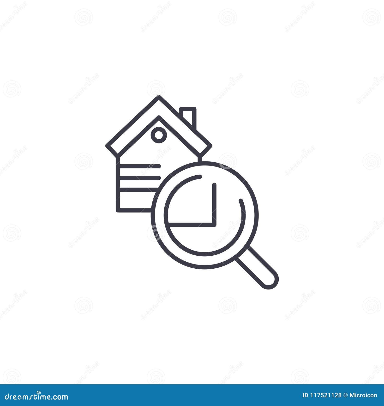 Begrepp för symbol för fastighetkontroll linjärt Fastighetkontrolllinje vektortecken, symbol, illustration