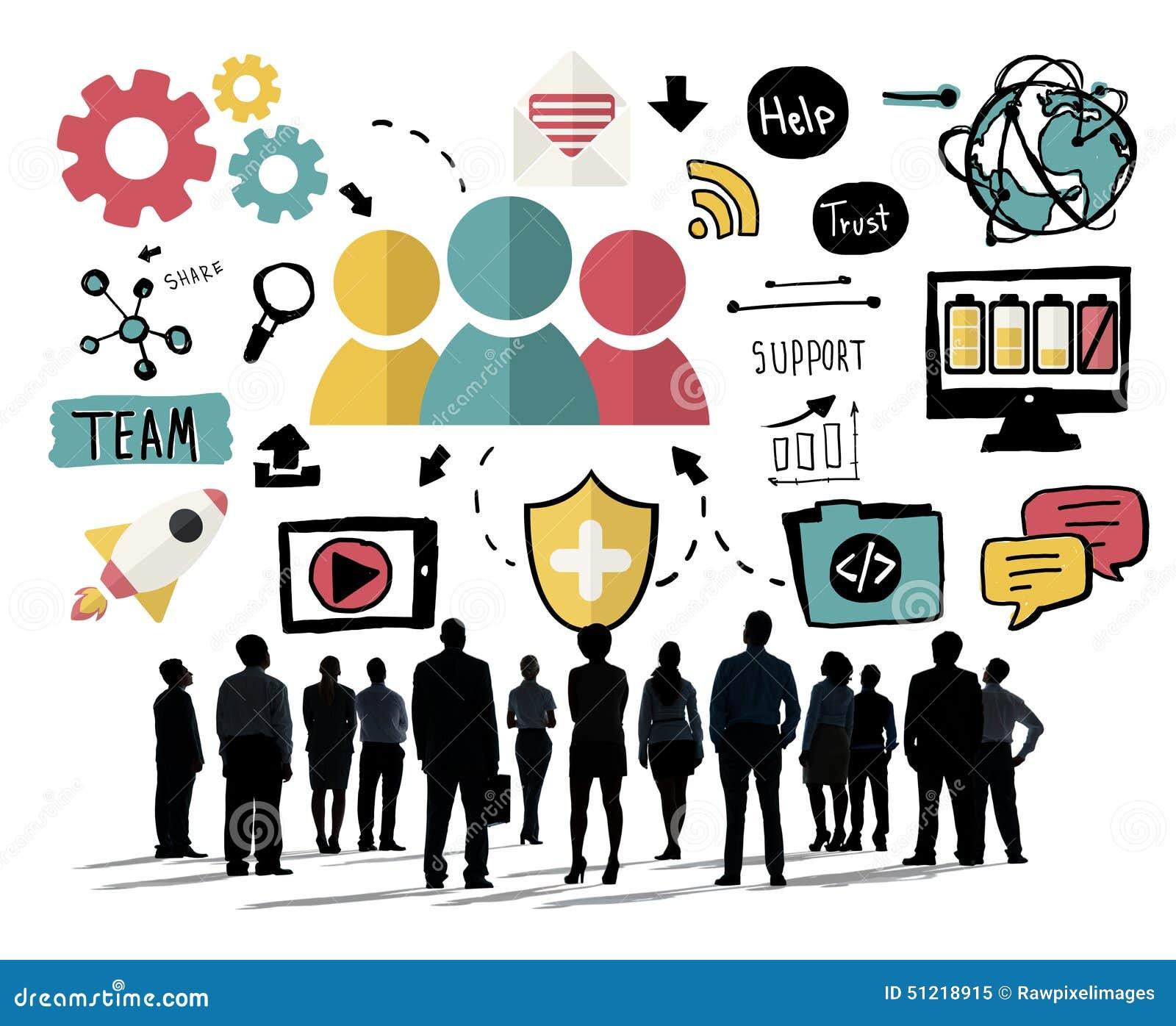 Begrepp för Team Share Support Trust Help teamworksamhörighetskänsla