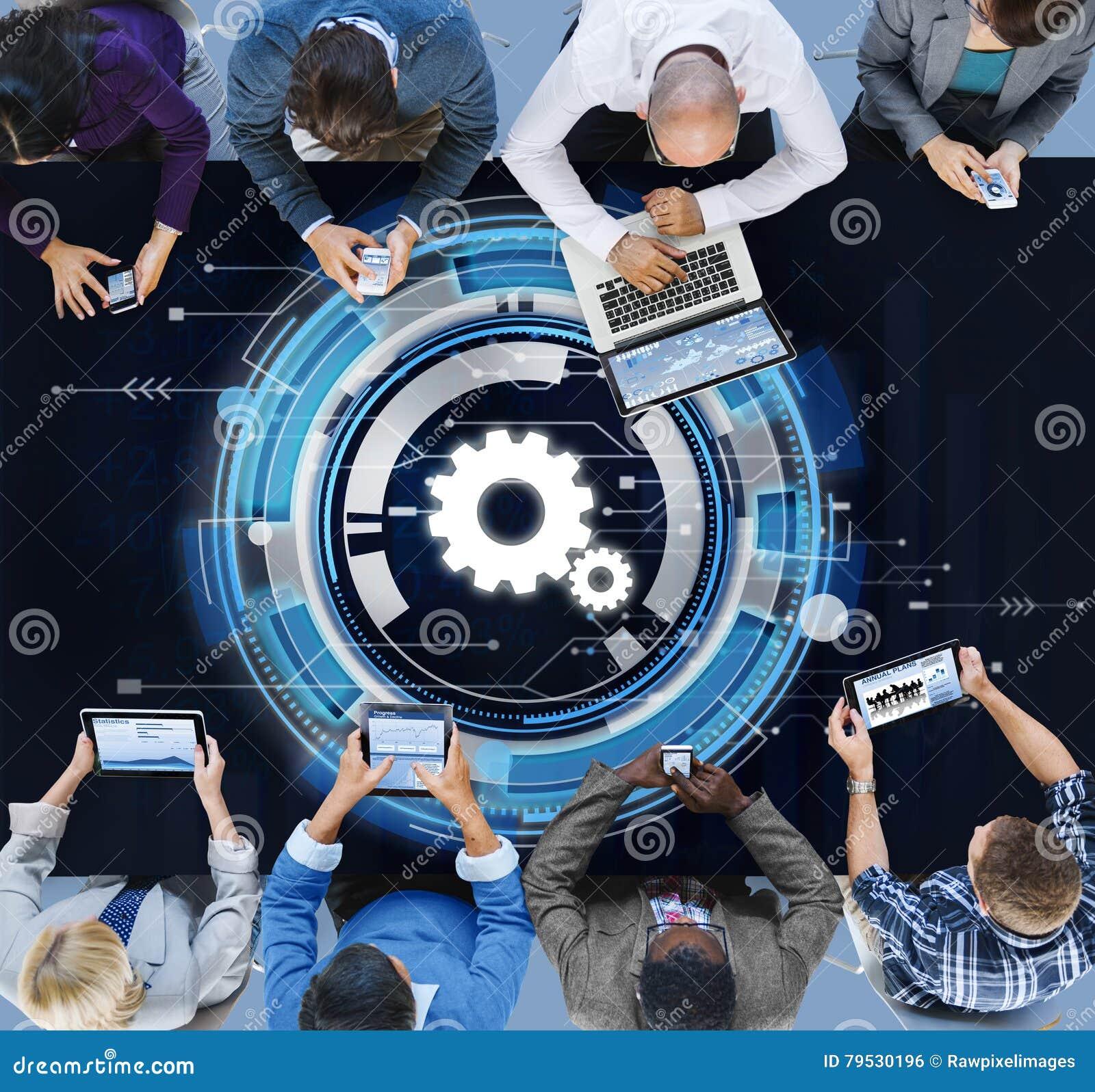 Begrepp för teamwork för kugge för Digitalt nätverk för teknologi