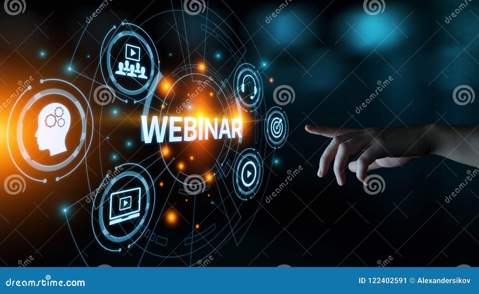 Begrepp för teknologi för internet för Webinar E-lärande utbildningsaffär