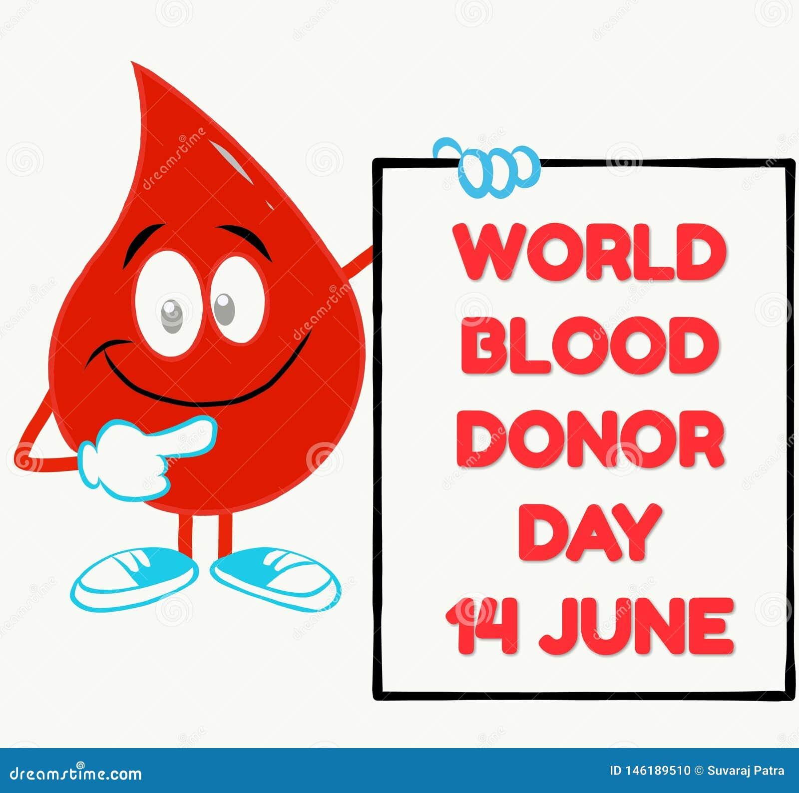 Begrepp för världsblodgivaredag med en bloddroppe