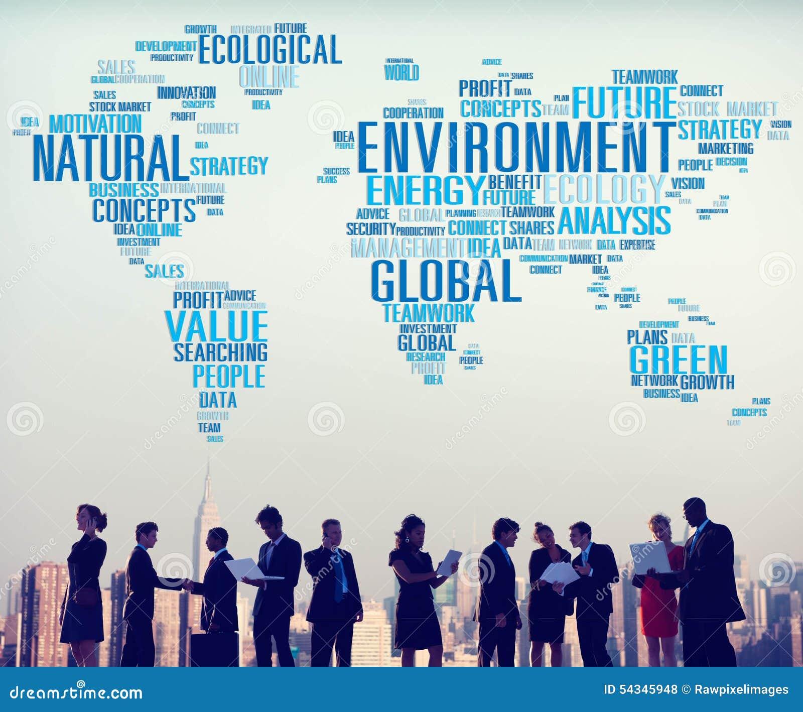 Begrepp för världskarta för naturlig hållbarhet för miljö globalt