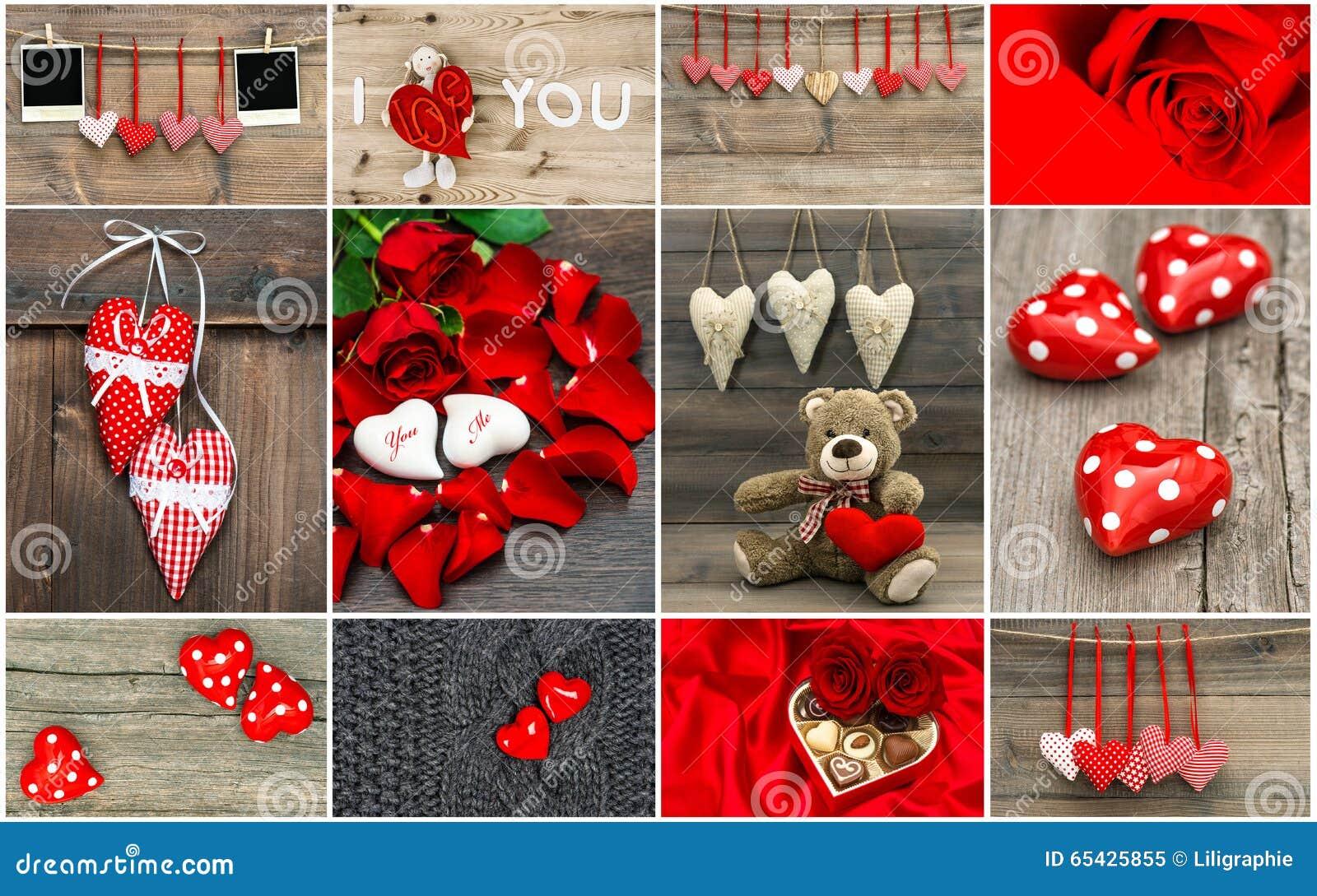Begrepp för valentindagkort Röda hjärtor, steg blommor, decoratio