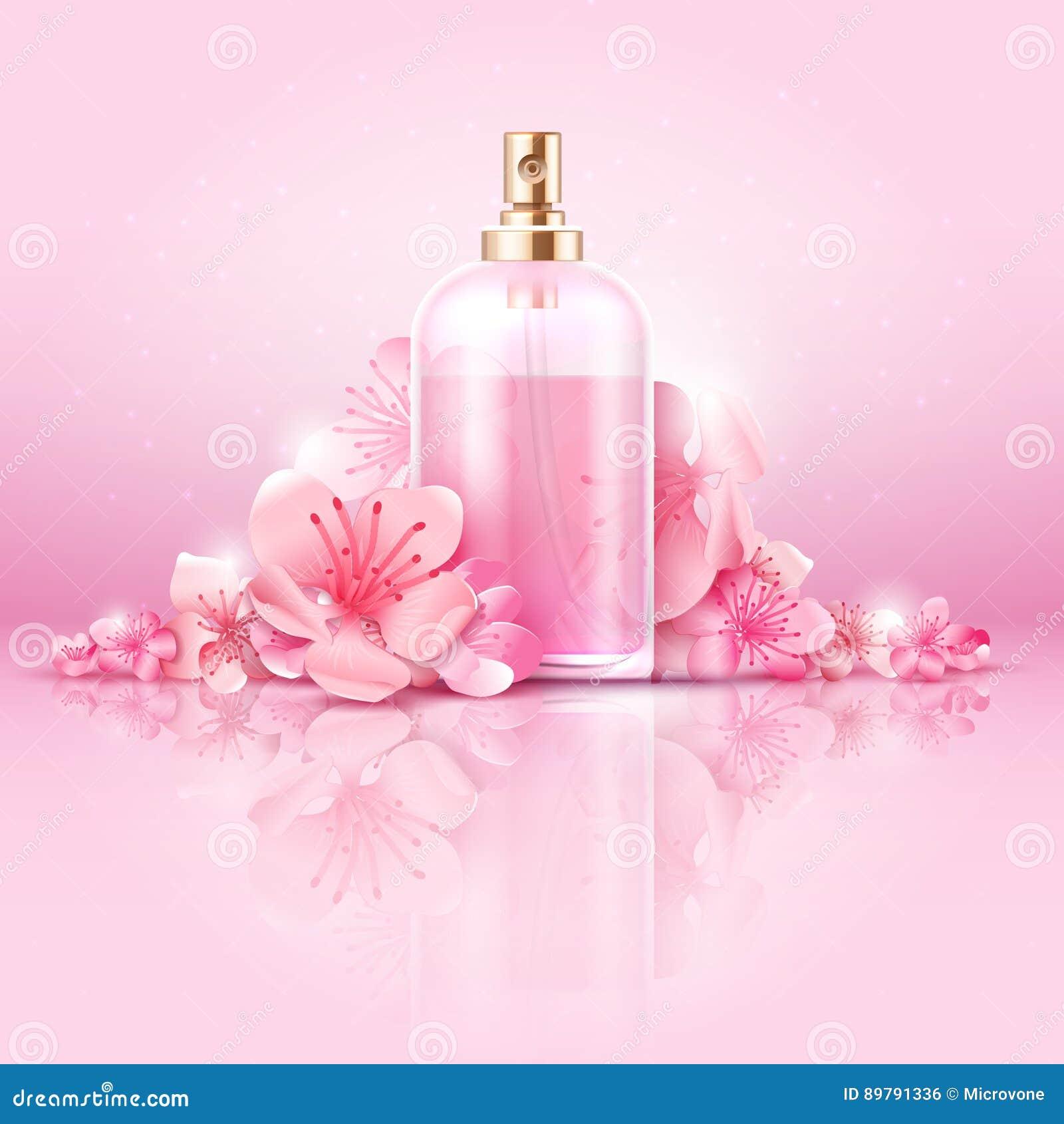Begrepp för vektor för hudomsorg kosmetiskt skönhetsmedlet med vitaminet och collagenen i flaska och sakura blommar
