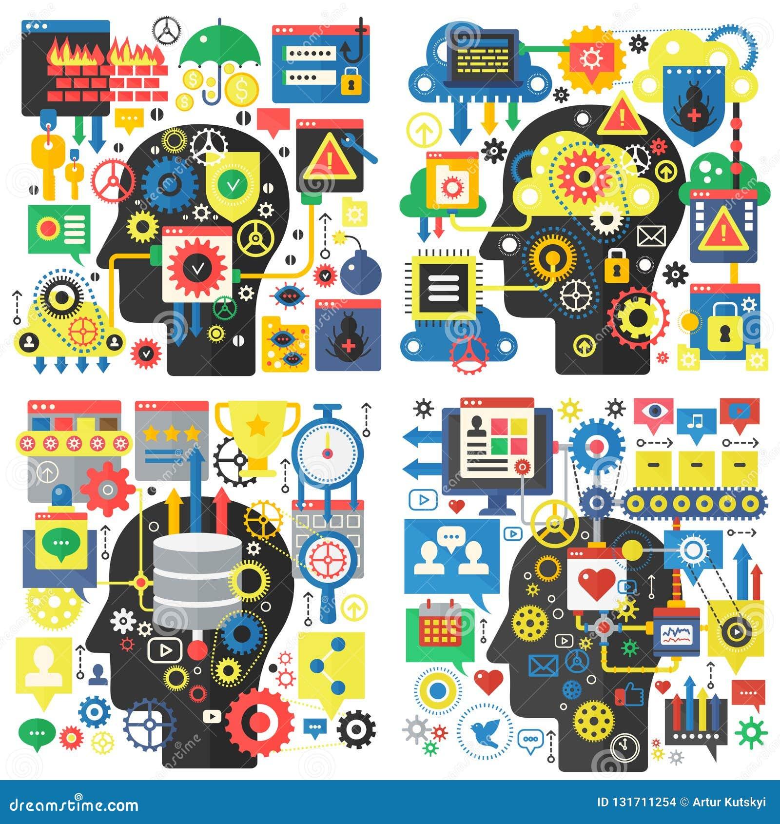 Begrepp för vektor Infographic för plant designhuvud grundläggande av kreativitet och forskning, socialt massmedia, teknologi för