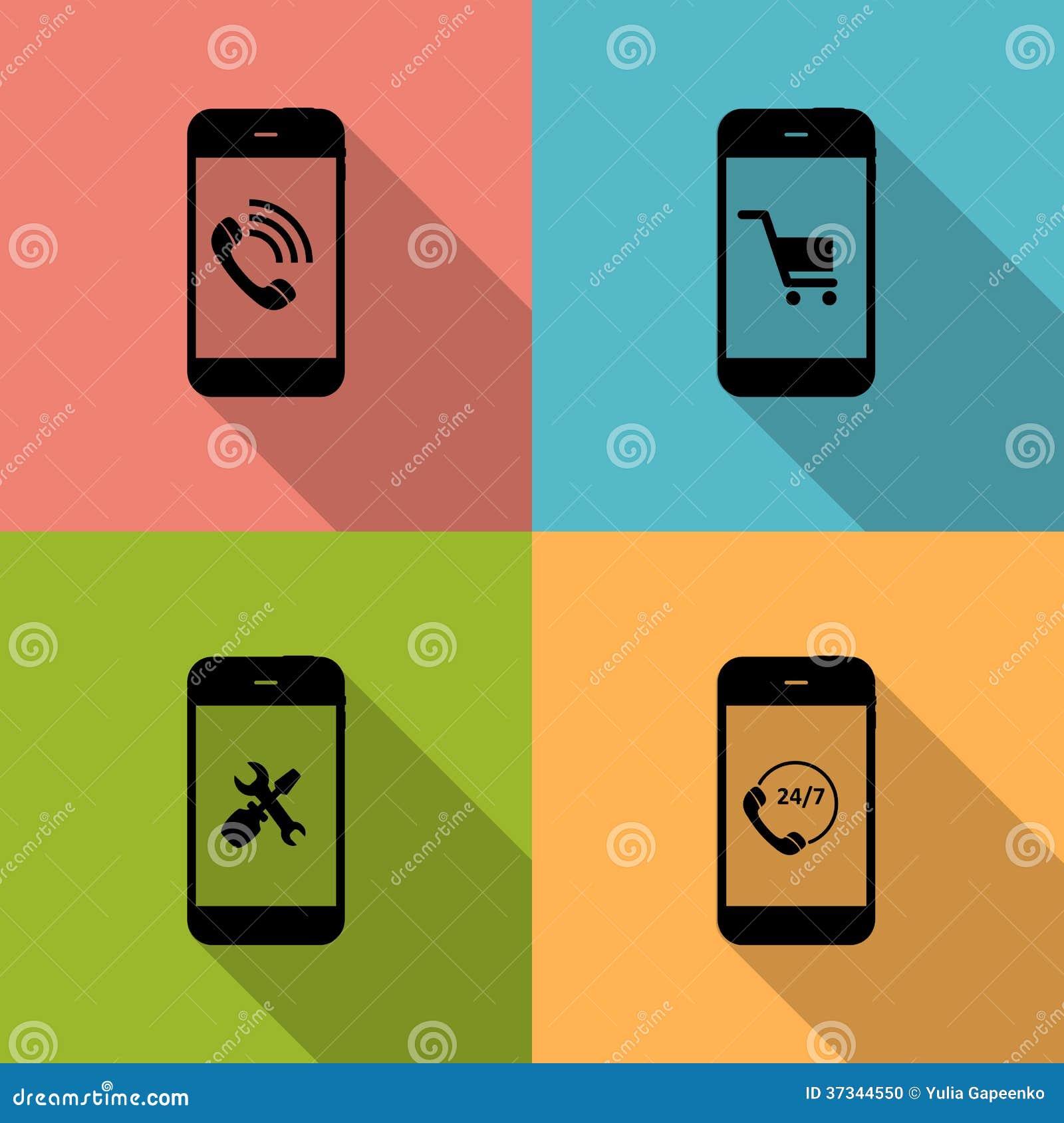 Begrepp på olika mobila Phote symboler. Vektor