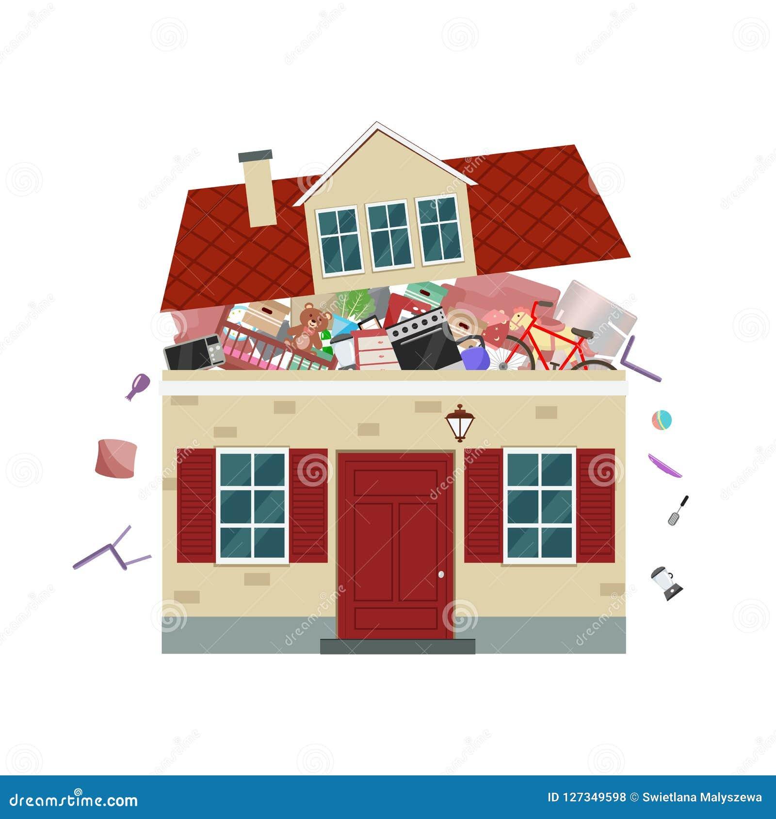 Begreppet av överdriven consumerism Husbristning av material också vektor för coreldrawillustration