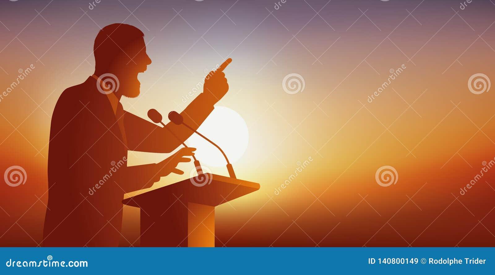 Begreppet av anförandet med en man, som tilltalar en allmänhet, kommer att se honom på hans möte