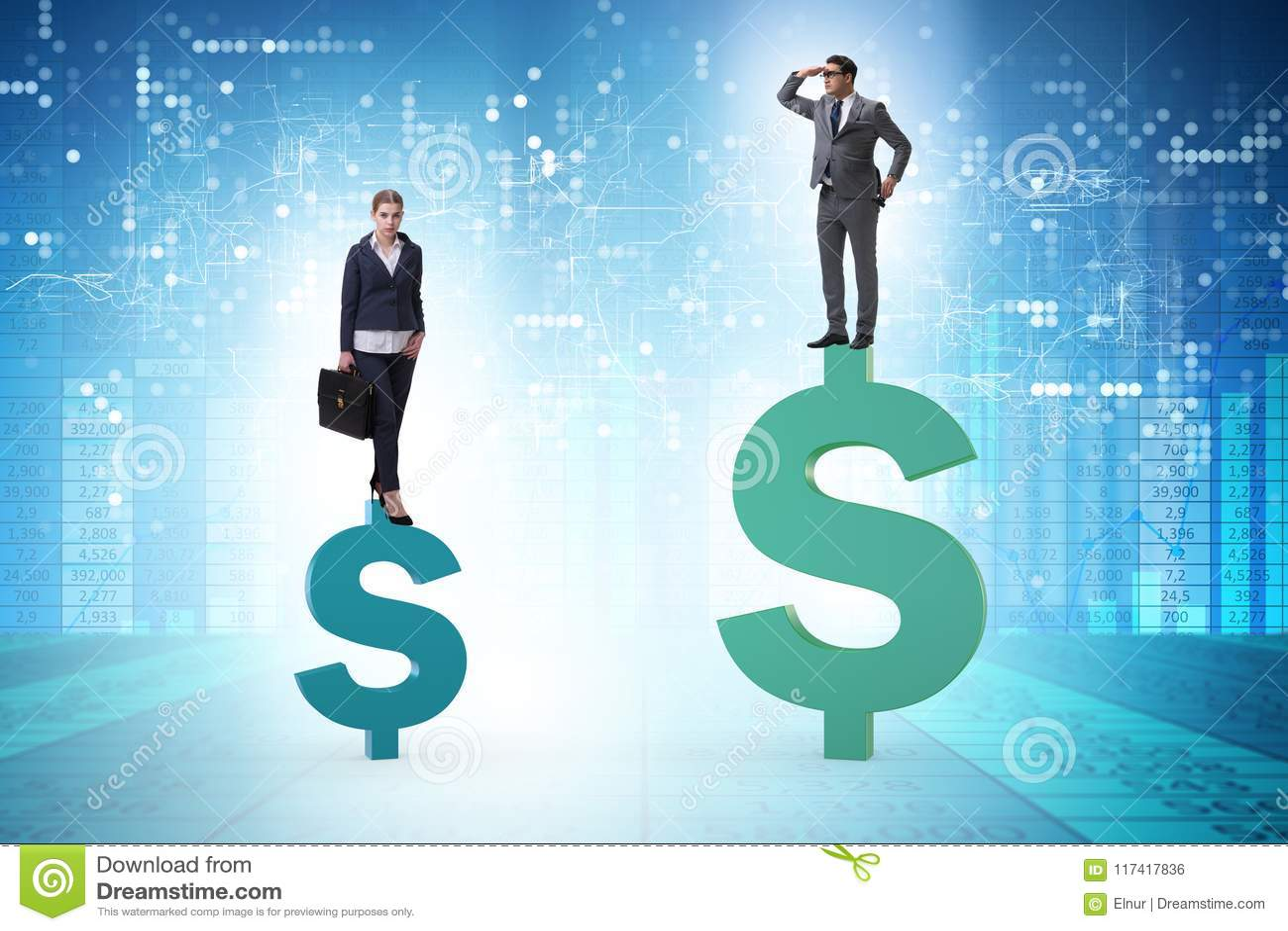 Begreppet av det inequal lön- och genusmellanrummet mellan mankvinnan