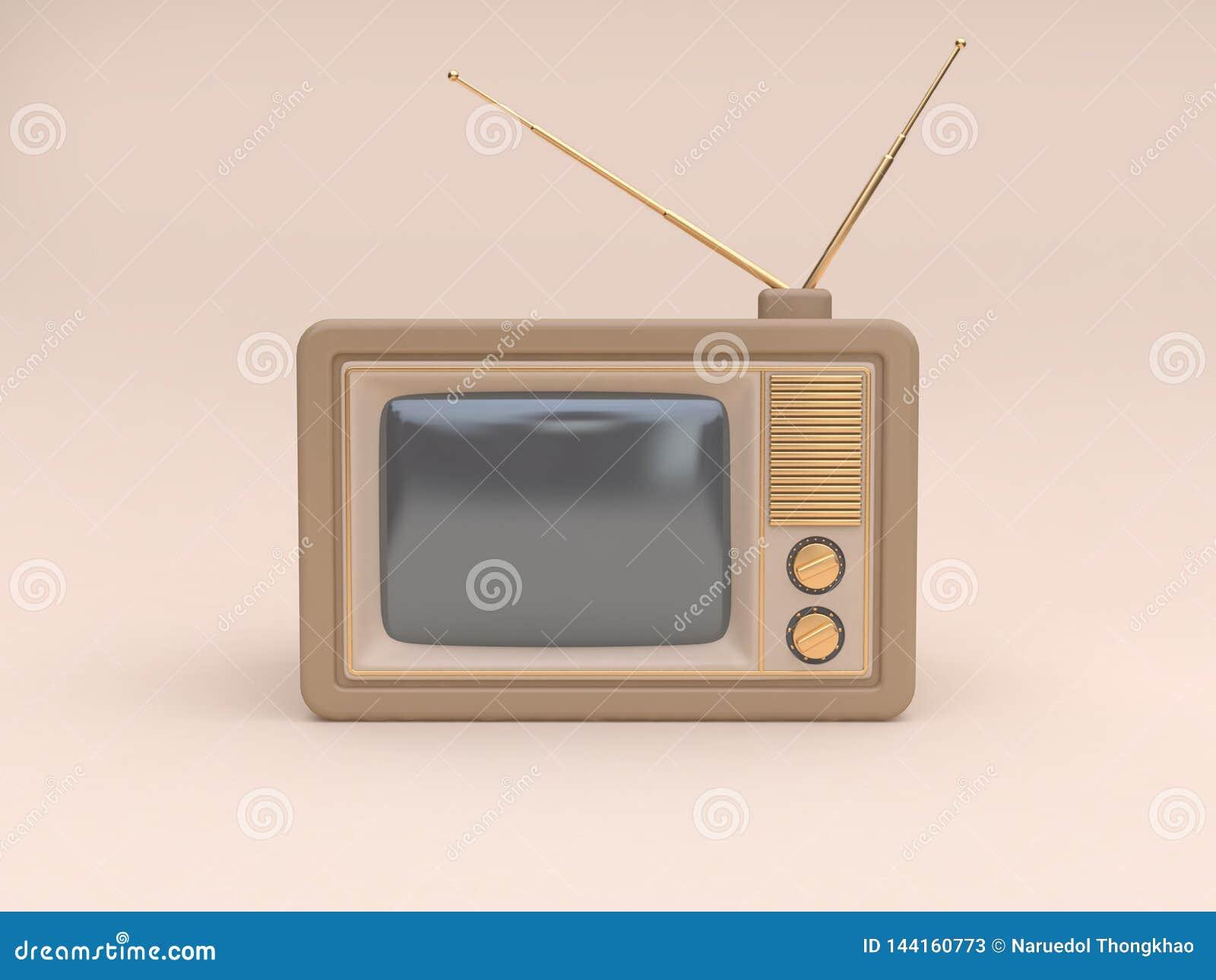 Begreppet 3d för teknologi för abstrakt gammal mjuk brunt-kräm för televisiontecknad filmstil framför det minsta kräm- bakgrund