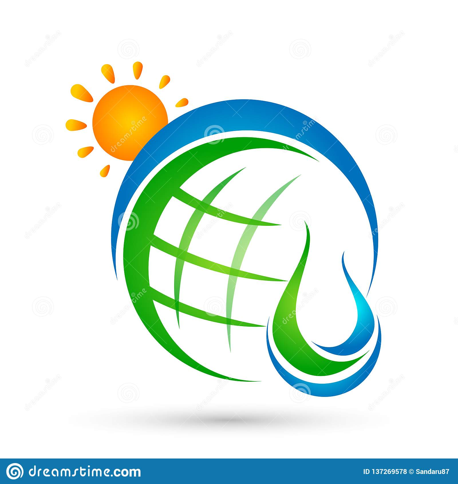 Begreppet för logoen för solen för jordklotvattendroppe av vattendroppe med naturen för symbolen för symbolet för wellnessen för